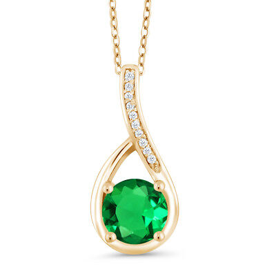 0.84 Ct Green Simulated Emerald & Diamond 18K Yellow Gold Plated Silver Pendant