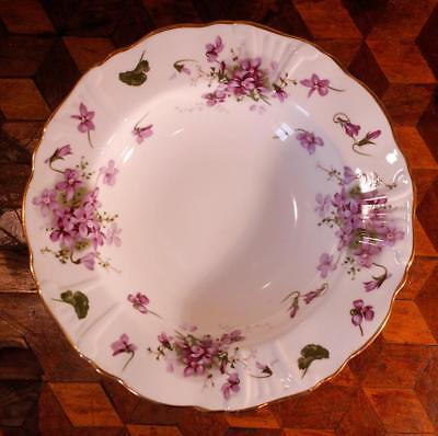 "1x Victorian Violets 8 3/4"" Rimmed Bowl Hammersley Embossed Scroll China 6 Avail"