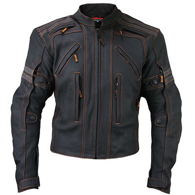 Vulcan Mens Black Street Armored Mattee Black Leather Motorcycle Jacket