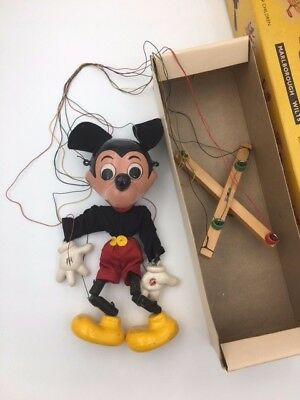 "Rare 1961-62 Pelham Puppet SL MICKEY MOUSE  10"" Marionette Made in England W/BOX"
