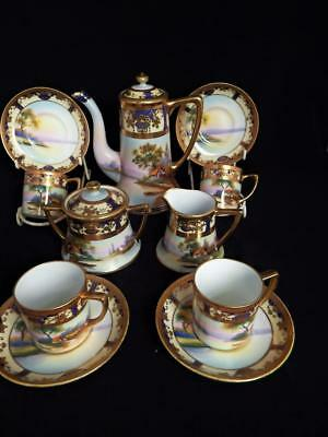 ANTIQUE NORITAKE PORCELAIN JAPAN HAND PAINTED & GILDED 11 PIECE COFFEE SET 1920s