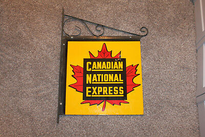 Vintage CANADIAN NATIONAL EXPRESS Porcelain Sign With Original Mounting Bracket