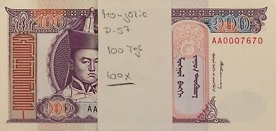 Mongolia 100 Tugrik P-57 bundle of 100 pcs 1993 issue, low AA serial numbers