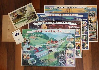 "Vtg 1943 Coca-Cola ""Our America"" Full Teacher's Kit Electricity 5 Litho Posters"