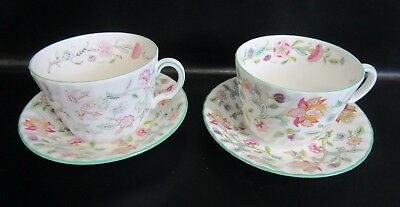 TWO Minton HADDON HALL BREAKFAST CUPS & SAUCERS - Signed JOHN WADSWORTH