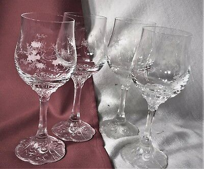 """Rosenthal Crystal""""catherine- Classic Rose Collection""""  4 Red Wine Goblets"""