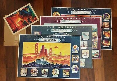 "Vtg 1943 Coca-Cola ""Our America"" Teacher's Kit - Steel - 5 Litho Posters & Cover"