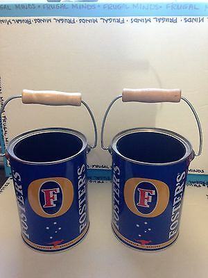 Fosters Beer Can Cozy Metal with Handle x2