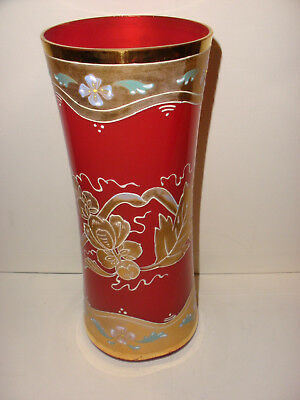 Antique Victorian Bohemian Moser enamel cranberry glass vase