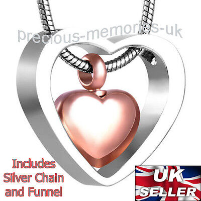 Rose Gold Cremation Ashes Necklace - Funeral Memorial Jewellery Urn Pendant