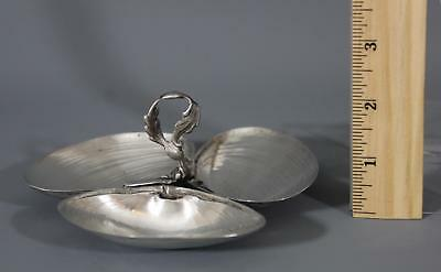 Small Antique Wallace Sterling Silver, Triple Seashell Clam Shell Dish 2.5 Troy