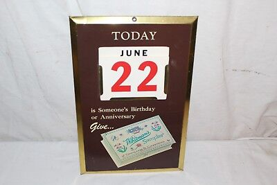 "Vintage 1950's Whitman's Candy Store Gas Oil 15"" Metal Perpetual Calendar Sign"