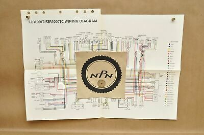 Vtg 1987 Yamaha FZR1000 T FZR1000 TC Factory Color Schematic Wire Wiring Diagram