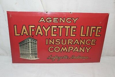 """Vintage 1930's Lafayette Life Insurance Company Gas Oil 15"""" Metal Sign"""
