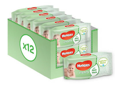 Natural Care Baby Wipes 12 Packs 672 Wipes Dermatologically Tested 99% Water New