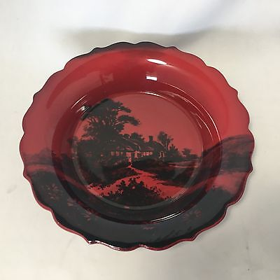 "Royal Doulton Flambe Large Fluted Landscape Bowl 9.75"" in Diameter"
