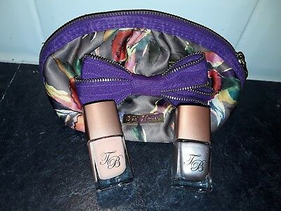 2 TED BAKER NAIL POLISH New & SATIN FLORAL MAKE UP CASE Used once