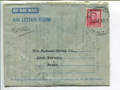 New Zealand aerogramme to Papua 1952, glue inside so it cannot be opened