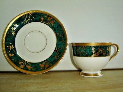 Dark Green and Gold Cup and Saucer Fine Bone China Hankook England