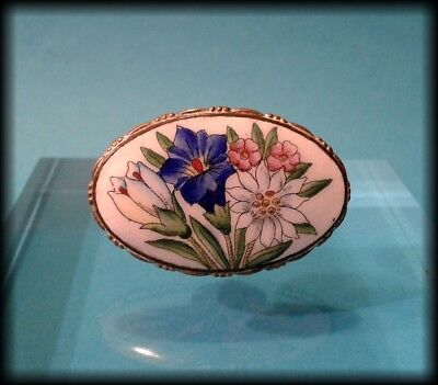 Antique Edwardian Painted Flowers on Porcelain Oval Brooch