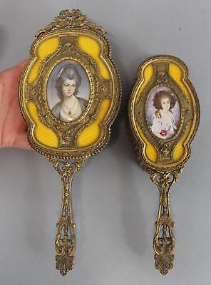 Antique Victorian Enamel Gilt Brass Hand Painted Portrait Vanity Hand Mirror ++