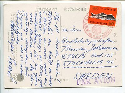 Japan Olympics air mail post card to Sweden 1964