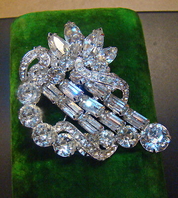 Gorgeous clarity signed EISENBERG Vintage Harp style brooch