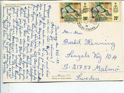 Malaysia post card to Sweden 1979