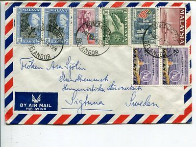 Malaysia and Malaya on air mail cover to Sweden 1965
