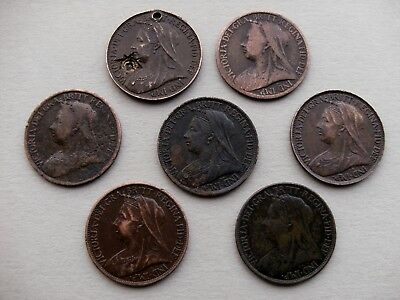 """Queen Victoria """"Veiled Head"""" 7 Farthing Coins dated 1897, 1898, 1899, 4 of 1901."""