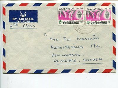 Malaysia Trengganu 2nd class air mail cover to Sweden 1970