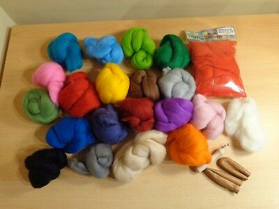 Large Bundle of Needle Felting Wool Tops, Finger Guards and Needle Holder