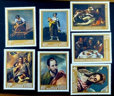 1968 HUNGARY Paintings: Fine Art Museum [7 STAMP SET] SG2351-63 MNH