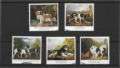 GB 1991 sg1531-35 Dogs Paintings By George Stubbs set - fine used