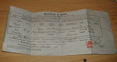 Birth Certificate For H.Phillips Born In 1853 At Boughton.Certified Copy 1915