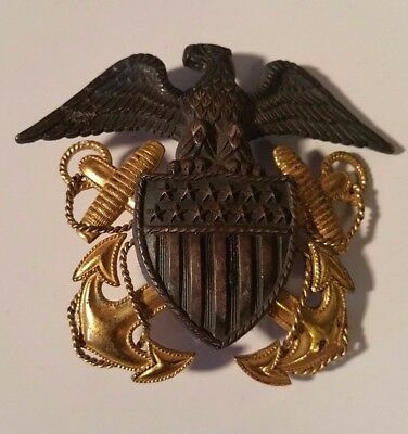 Vintage WWII Sterling US Navy Eagle Shield Hat Pin nice