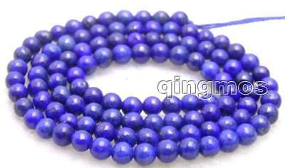 "SALE Small 6mm Round Blue natural lapis lazuli loose beads strand 15""-los628"