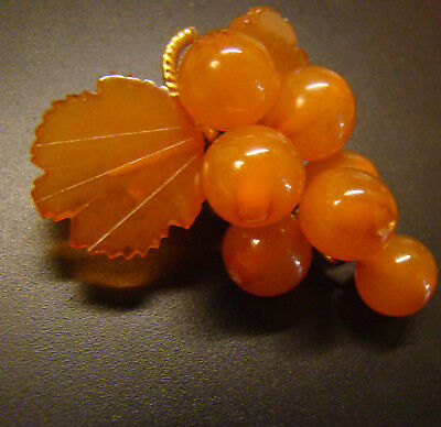Lovely Russian natural carved Baltic Amber grapes themed brooch