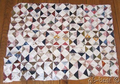 Early c 1820/30s Quilt Top pc Antique TINY triangles 26 x 19 Study