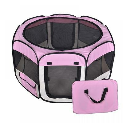 New Small Pet Dog Cat Tent Playpen Exercise Play Pen Soft Crate T08S Pink