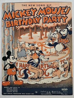 S681. Walt Disney Enterprises MICKEY MOUSE'S BIRTHDAY PARTY Sheet Music (1936) [
