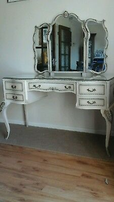 french louis style dressing table, large head board & bedside draws.