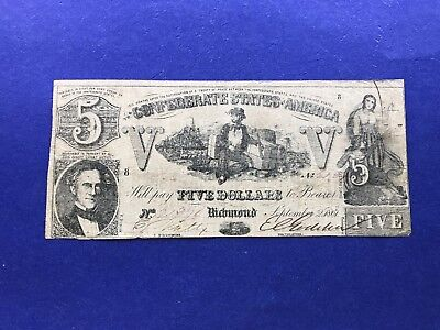 **(T-37)** $5 1861 Confederate States of America Currency