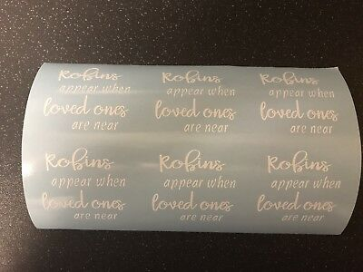 6 X Robins Appear When Loves Ones Are Near DIY Christmas Bauble Vinyl Decal