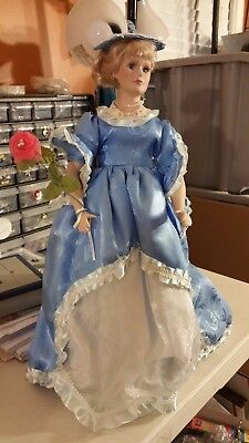 Ashley Belle Princess Young Lady Diana Porcelain Doll, Blue, No Cracks Chips