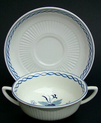 Vintage Adams Blue Baltic Pattern 2-Handle Soup or Dessert Bowls & Stand in VGC