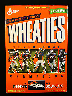 1997 Denver Broncos Super Bowl Champions WHEATIES Cereal Box UNOPENED Full