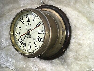 Vtg Germany Astral Heavy Brass Ship's Clock Quartz With Wooden Case Working