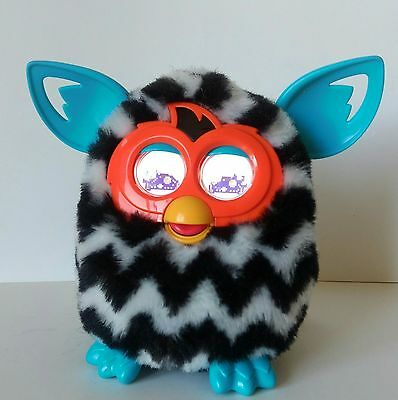 Black and White Chevron Electronic Furby Boom Interactive Works Great Tested EUC