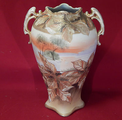 Exquisit  Hand Painted Nippon  Floral Gold Glint Vase